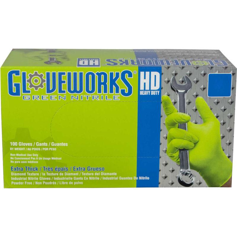 Ammex® GWGN Gloveworks Industrial Grade Textured Nitrile Gloves, Powder-Free, M, Green, 100/Box - Everything But The Plant