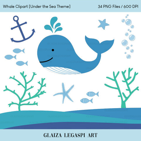 Whale Clipart, Under the Sea, Fish, Starfish, Coral, Anchor, Ocean / Personal Use / GLA003