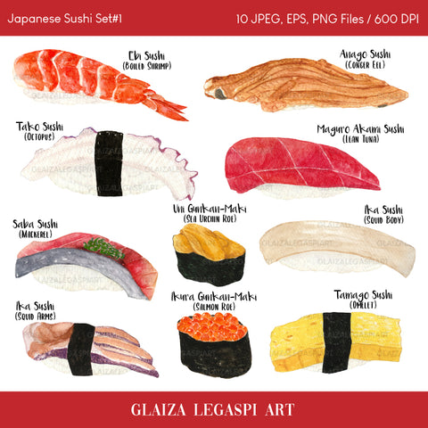 Japanese Sushi Set #1 Watercolor Clipart / Personal Use / GLA004