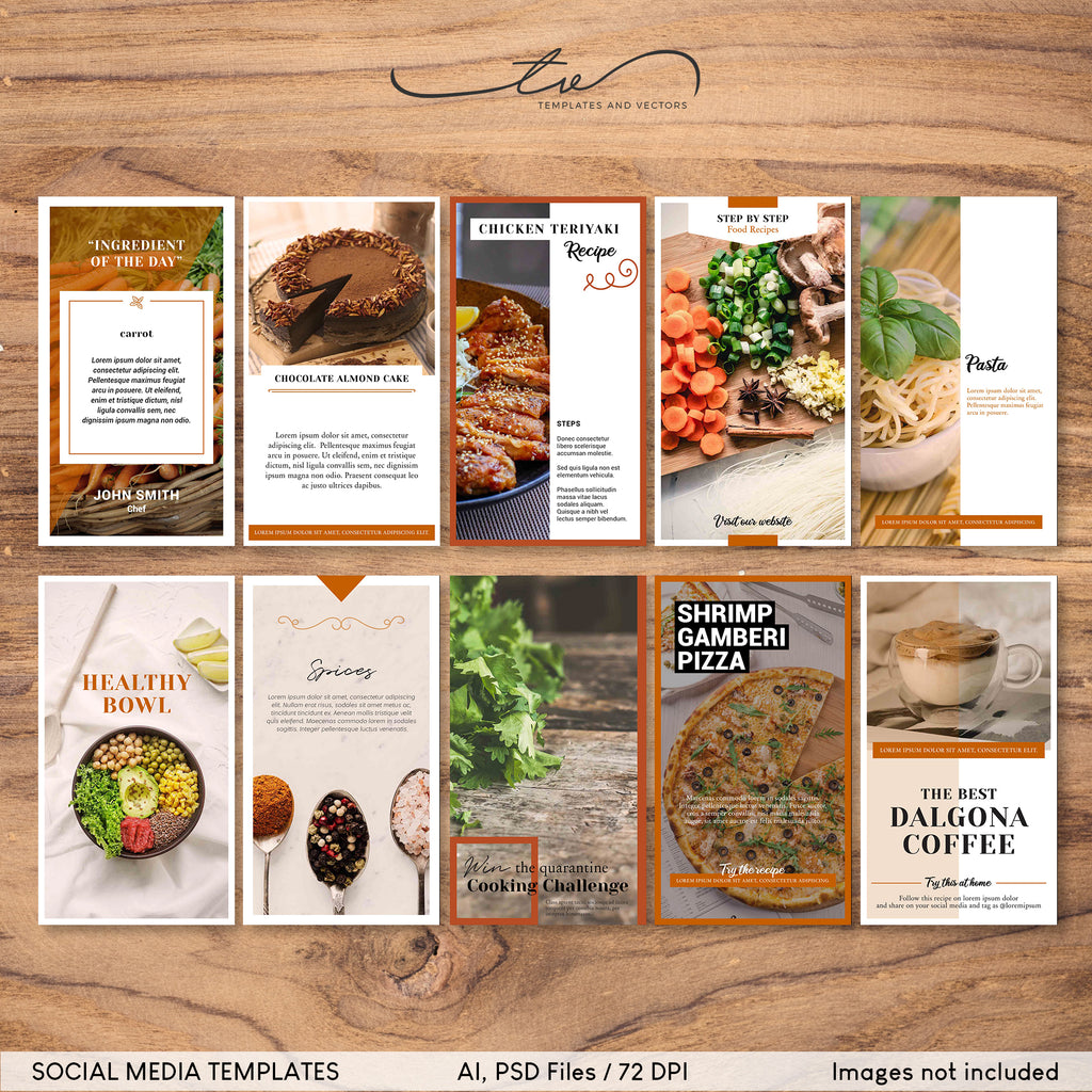SMT001 Food Social Media Template in Burnt Orange