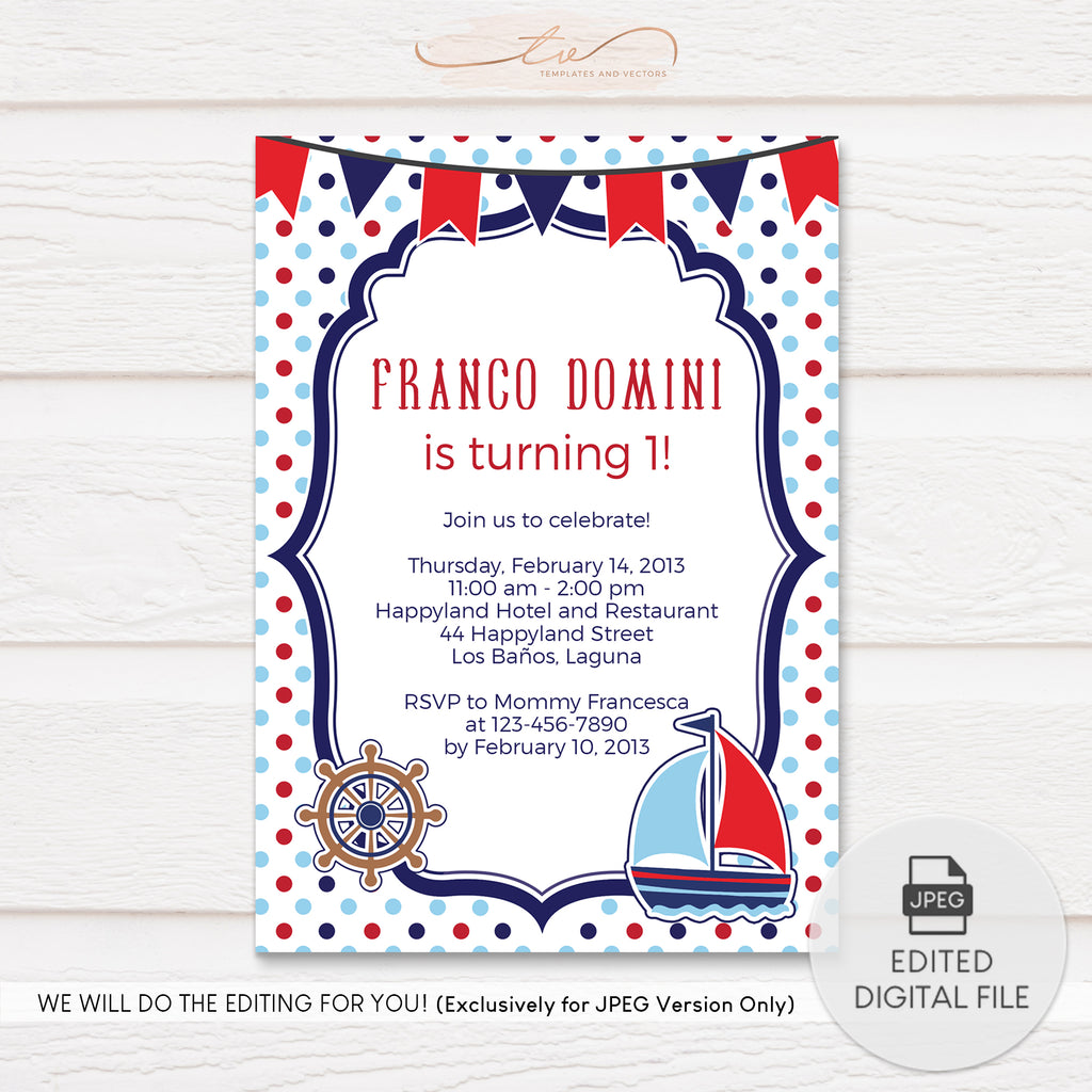 TVB022 Polka Dots Nautical Birthday Invitation Template