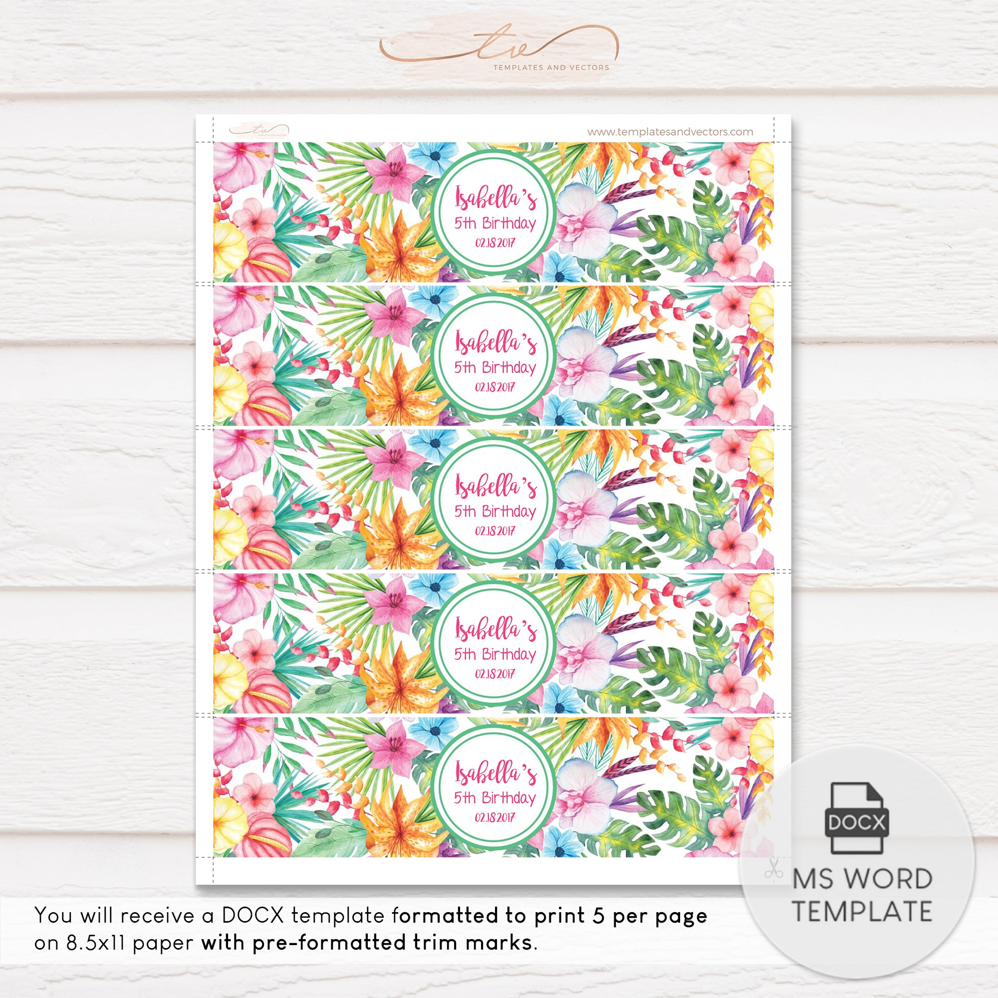 Tvb074bl Aloha Hawaiian Party Water Bottle Label Template 8 X2 Templates And Vectors