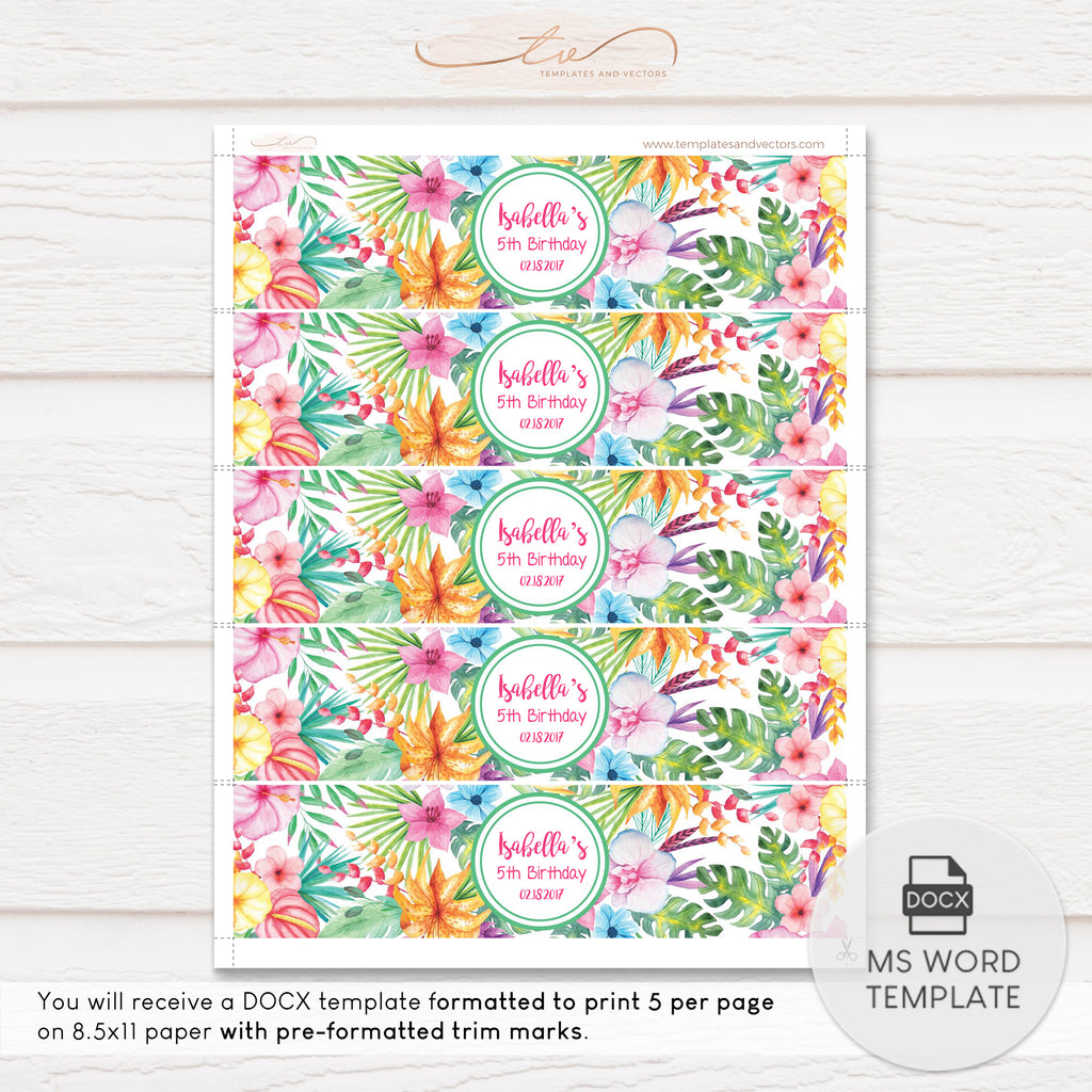"TVB074BL Aloha Hawaiian Party Water Bottle Label Template 8""x2"""