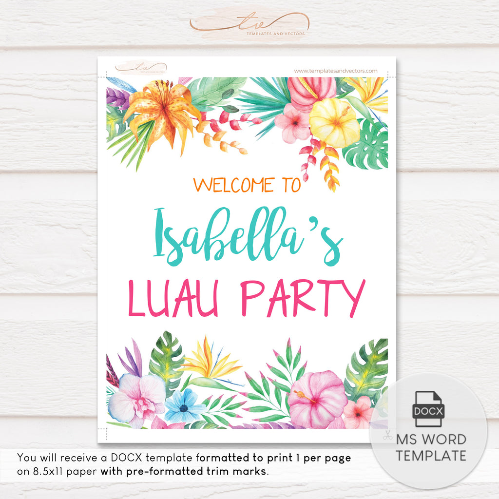 "TVB074WS Aloha Hawaiian Party Welcome Sign Template 8""x10"""