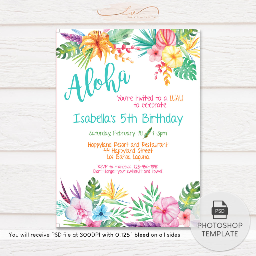 TVB074 Aloha Hawaiian Party Birthday Invitation Template