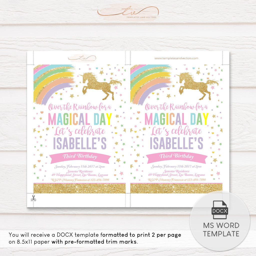 TVB076 Rainbow Unicorn Birthday Invitation Template (Gold Glitter)