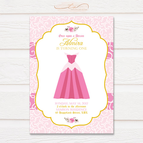 TVB077 Aurora Dress Birthday Invitation Template