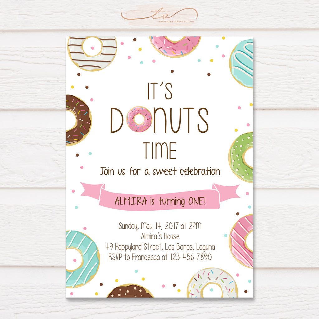 TVB080 Donut Party Birthday Invitation Template