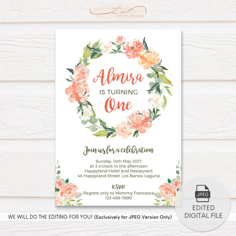 TVB082 Watercolor Flowers Birthday Invitation Template