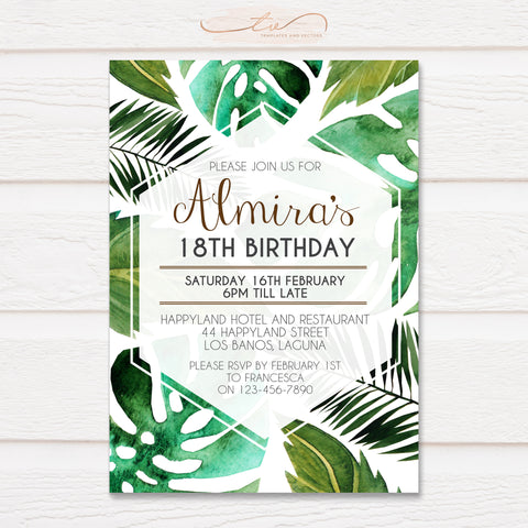 TVB083 Tropical Leaves Birthday Invitation Template