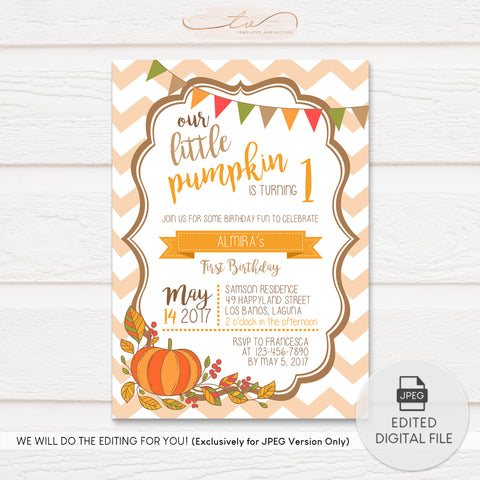 TVB087 Little Pumpkin Birthday Invitation Template