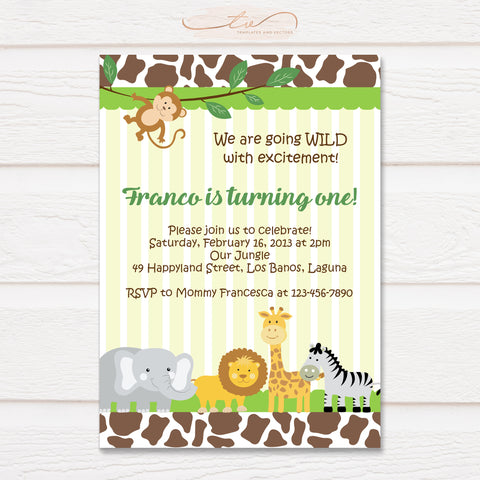 TVB089 Jungle Safari Birthday Invitation Template