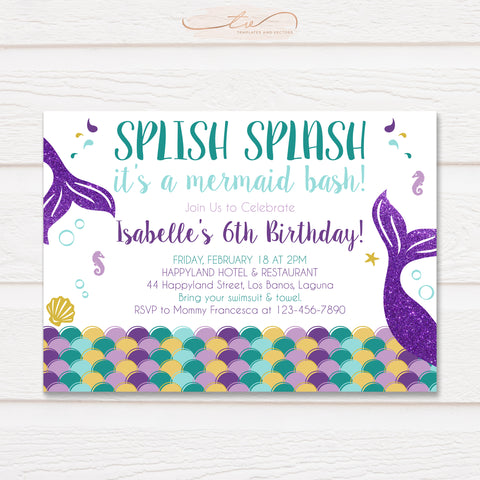 TVB092 Mermaid Birthday Invitation Template (Purple, Gold, and Teal)