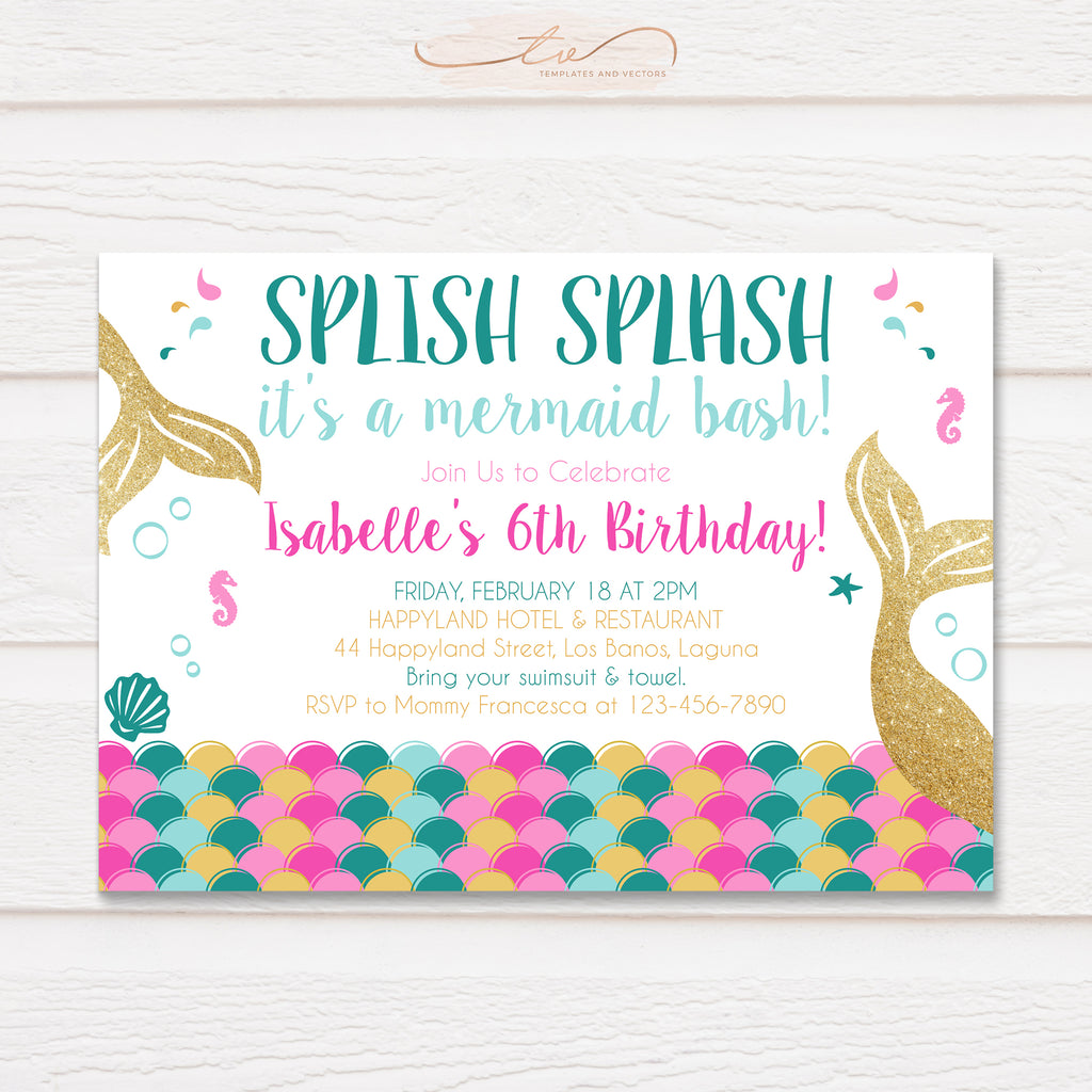 TVB092 Mermaid Birthday Invitation Template (Pink, Gold, and Teal)