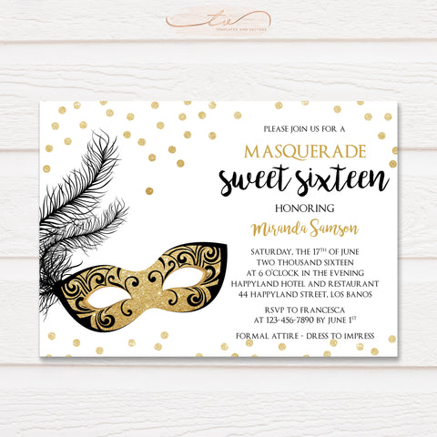 TVB095 Sparkly Masquerade Birthday Invitation Template