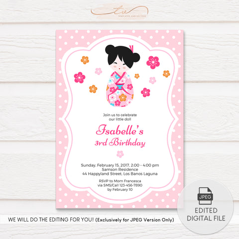 TVB096 Kokeshi Doll Birthday Invitation Template