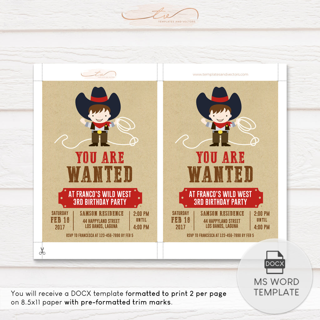 TVB098 Cowboy Fun Birthday Invitation Template