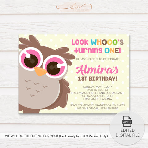 TVB099 Owl Birthday Invitation Template