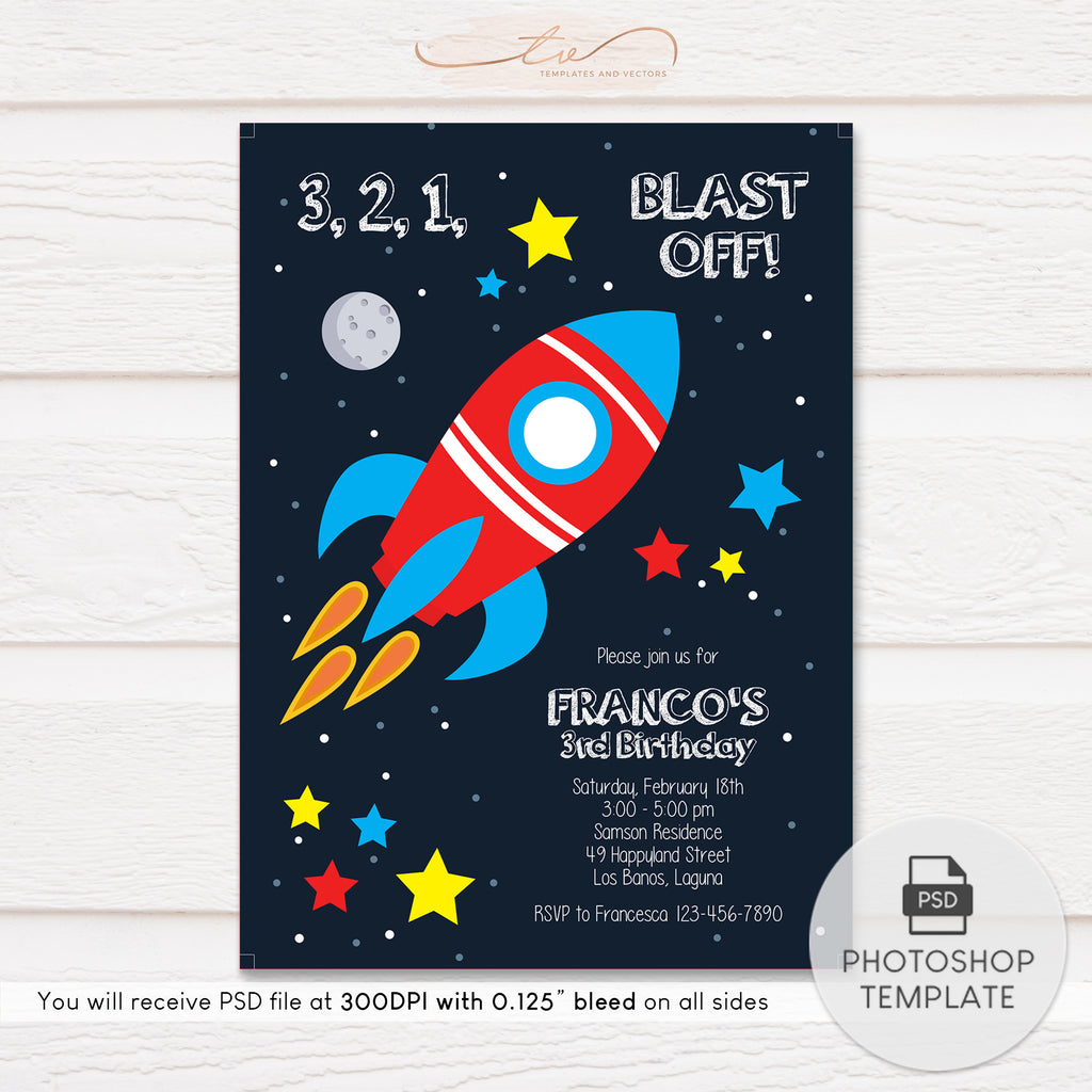 TVB102 Blast Off Rocket Ship Birthday Invitation Template