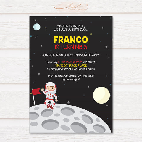 TVB103 Astronaut on Moon Birthday Invitation Template