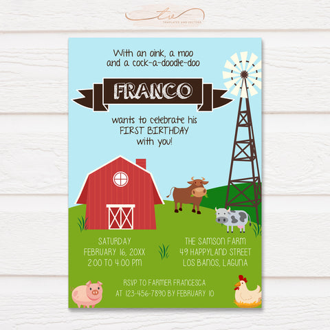 TVB110 Farm Animals Barn Theme Birthday Invitation Template