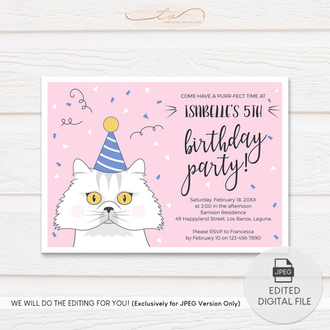 TVB112 Persian Cat Purr-ty Birthday Invitation Template