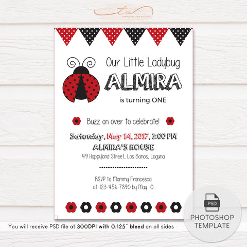 TVB113 Buzz On Over Ladybug Birthday Invitation Template