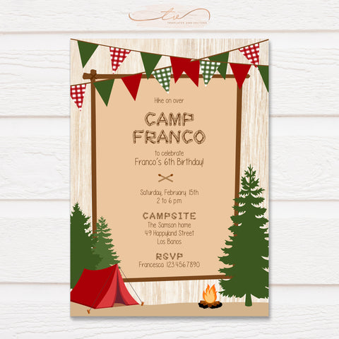 TVB123 Christmas Woodland Camp Birthday Invitation Template