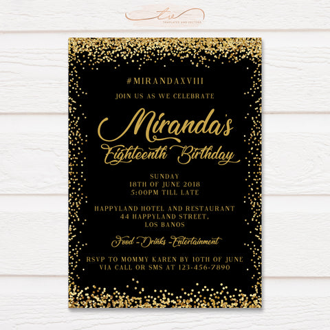 TVB150 Gold Glitter Confetti Birthday Invitation Template