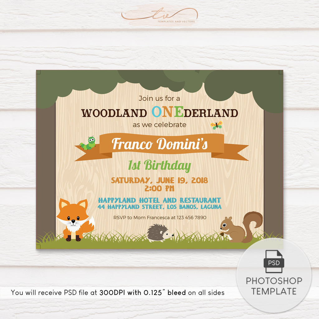 TVB159 Woodland Animals Birthday Invitation Template