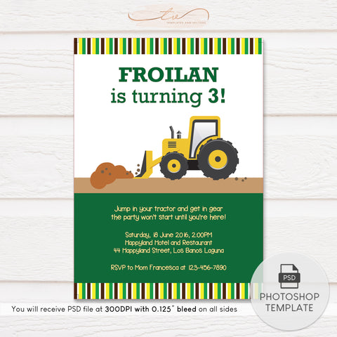 TVB173 Tractor Truck Birthday Invitation Template (Yellow and Green)
