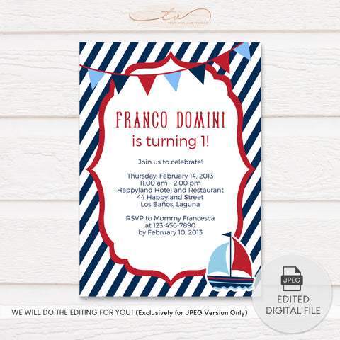 TVB174 Nautical Sailboat Birthday Invitation Template