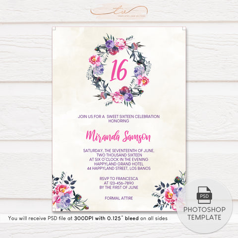 TVB190 Watercolor Florals Birthday Invitation Template