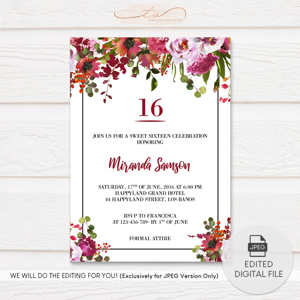 TVB191 Blush Pink Coral Watercolor Florals Birthday Invitation Template