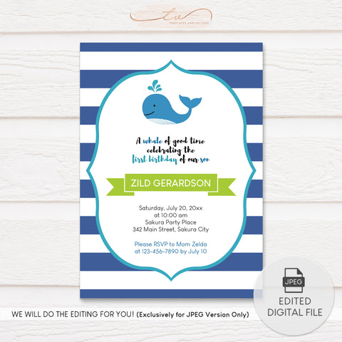 TVB197 A Whale of a Good Time Birthday Invitation Template