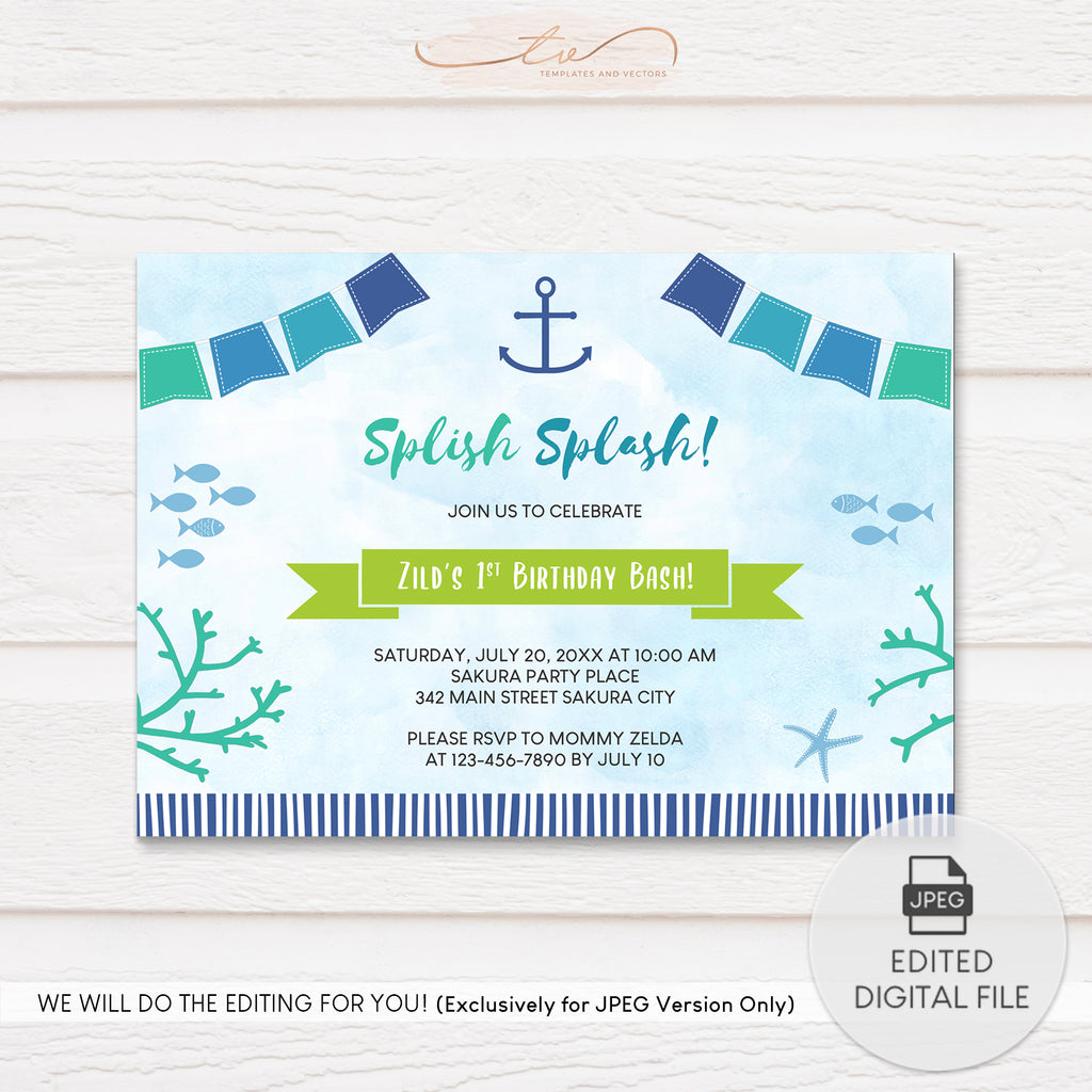 TVB198 Under the Sea Nautical Birthday Invitation Template