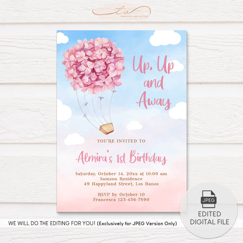 TVB202 Pink Hydrangea Ride Birthday Invitation Template