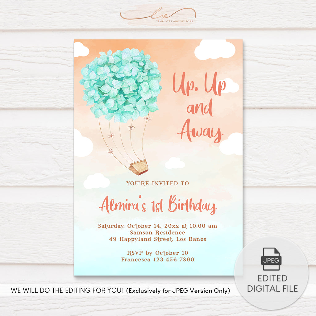 TVB203 Mint Hydrangea Ride Birthday Invitation Template