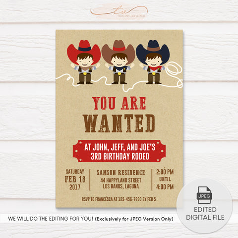 TVB207 Triple Cowboy Fun Birthday Invitation Template