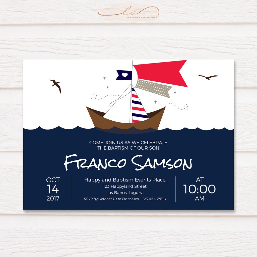 TVC053 Nautical Sailboat Baptism Invitation Template