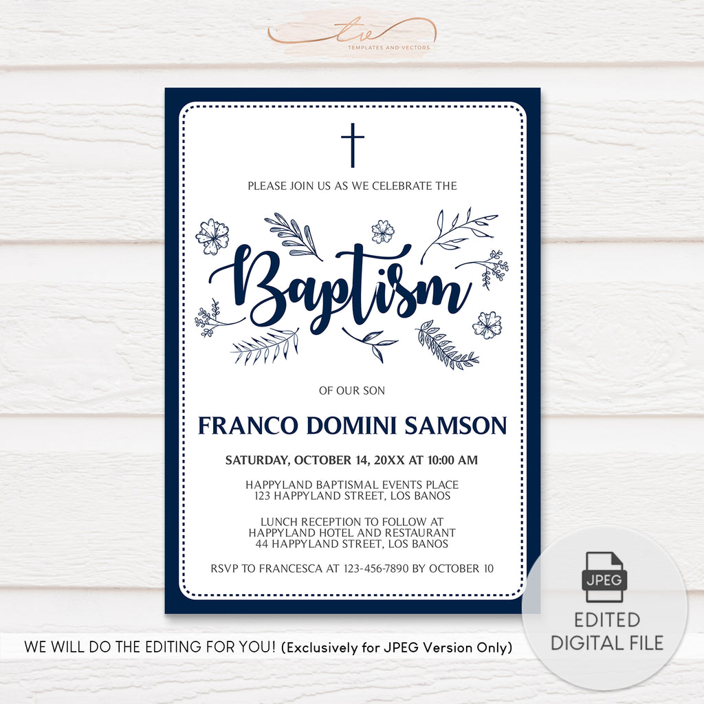 TVC115 Navy Nature Doodles Baptism Invitation Template