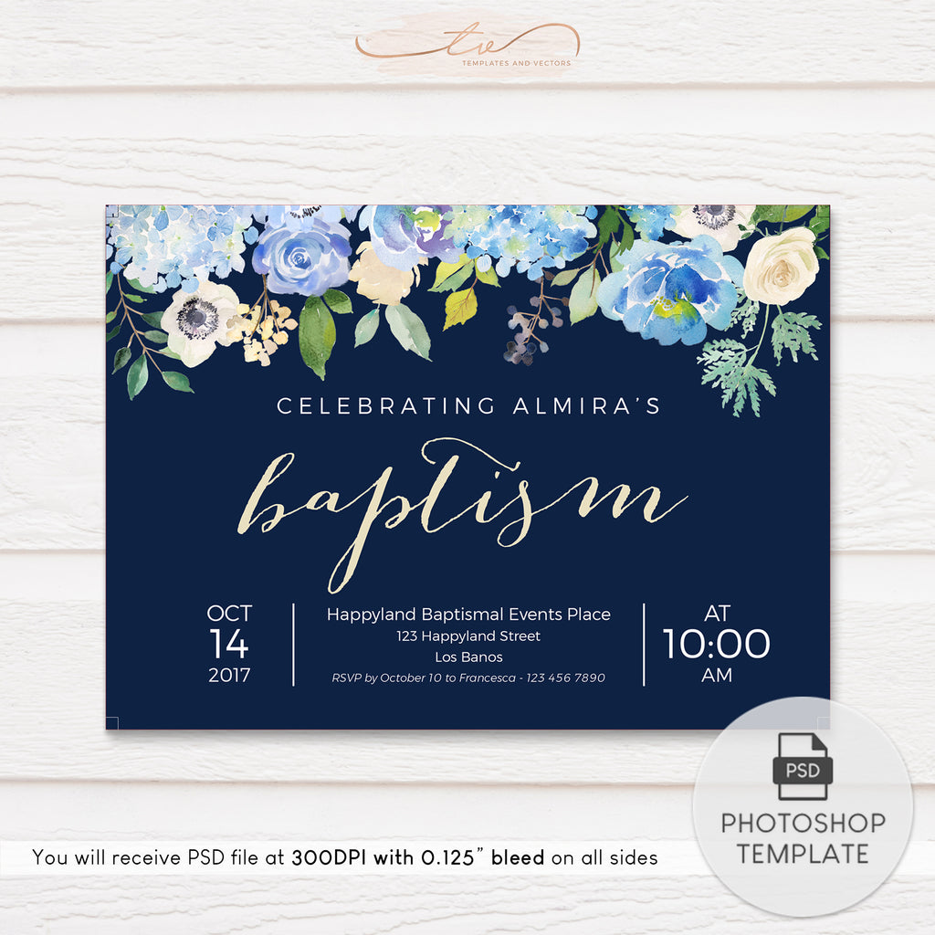 TVC116 Navy Floral Baptism Invitation Template