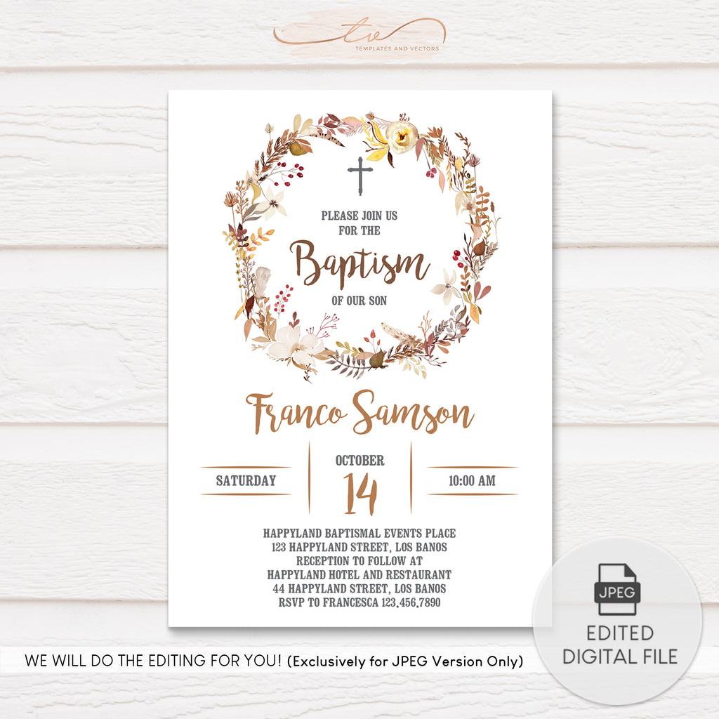 TVC118 Fall Wreath Baptism Invitation Template