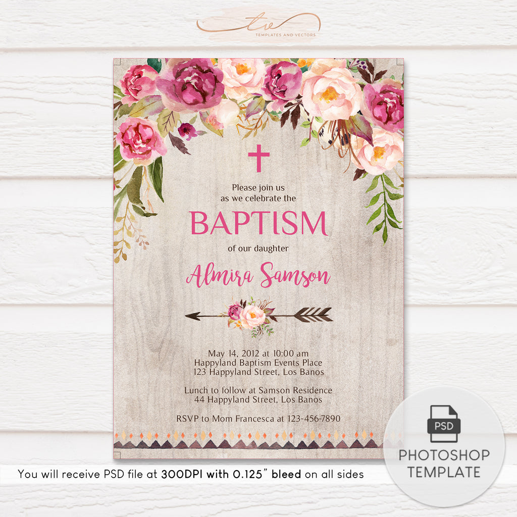 TVC120 Beautiful Pink Floral Baptism Invitation Template