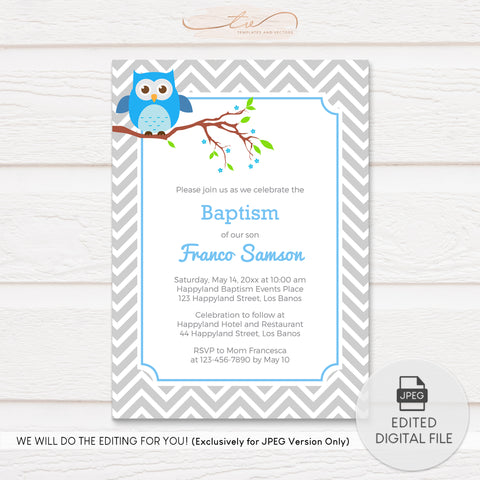 TVC122 Baby Owl on Branch Baptism Invitation Template