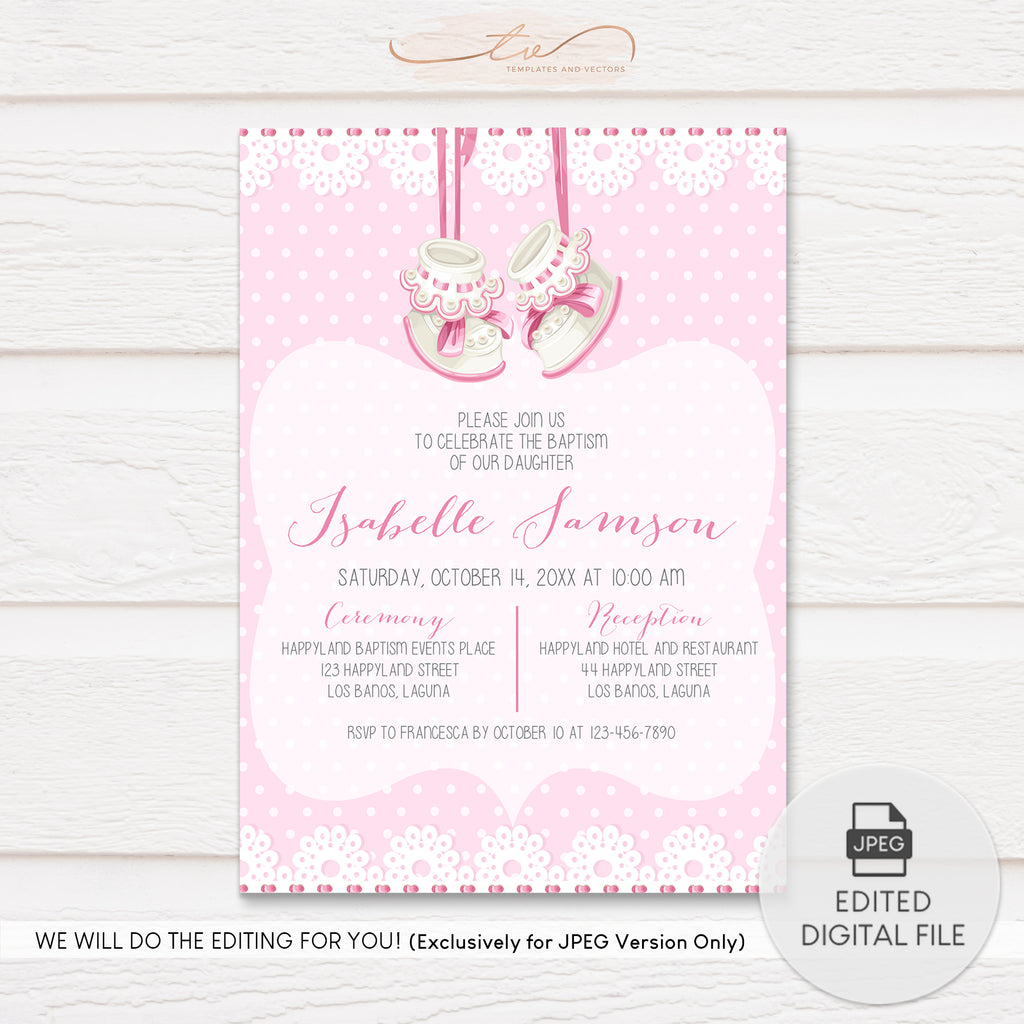 TVC124 Baby Shoes Pink Baptism Invitation Template