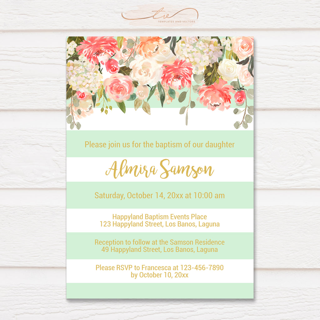 TVC125 Mint and Gold Watercolor Floral Stripes Baptism Invitation Template