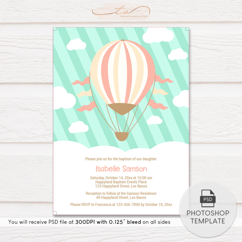 TVC126 Hot Air Balloon Ride Baptism Invitation Template