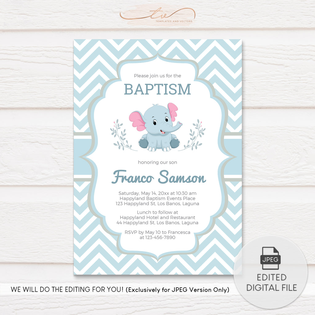 TVC127 Blue Baby Elephant Baptism Invitation Template