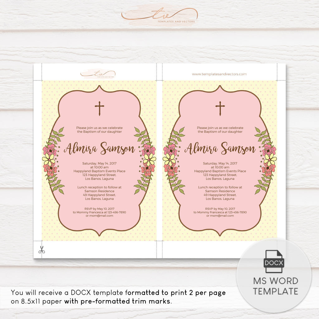 TVC131 Spring Flowers Baptism Invitation Template